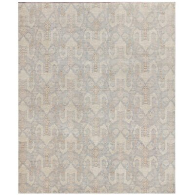 Persian Tabriz Design Hand-Knotted Wool Gray Area Rug