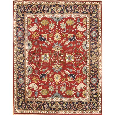Mahal Design Hand-Knotted Wool Red Area Rug