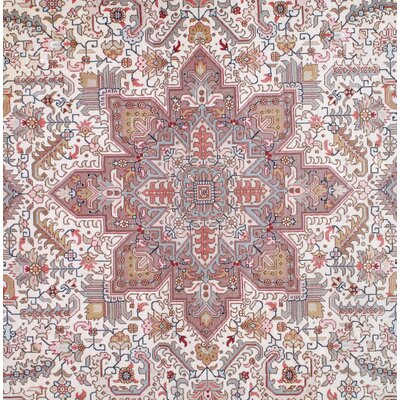 Persian Tabriz Korker Hand-Knotted Wool Ivory Area Rug