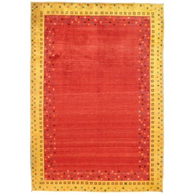 Gabbeh Persian Hand-Knotted Wool Red Area Rug