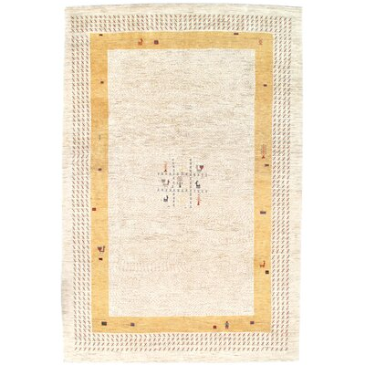 Gabbeh Persian Hand-Knotted Wool Ivory Area Rug