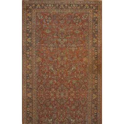 Antique Persian Sarouk Hand-Knotted Wool Brown Area Rug