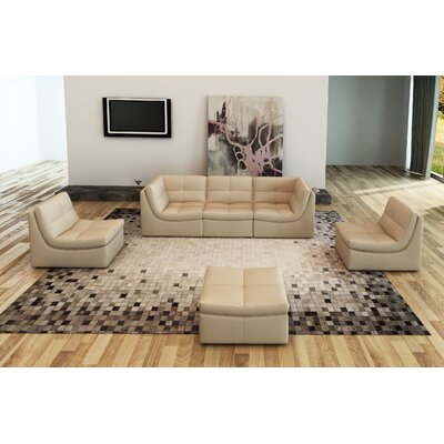 Monaco Leather Modular Sectional with Ottoman Upholstery: Ivory