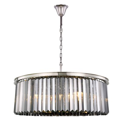 Lavinia 10-Light Drum Pendant Finish: Polished Nickel, Crystal Color: Gray