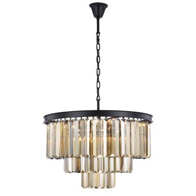 Lavinia 9-Light Crystal Chandelier Finish: Matte Black, Crystal Color: Smoky