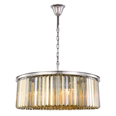 Lavinia 10-Light Drum Pendant Finish: Polished Nickel, Crystal Color: Smoky