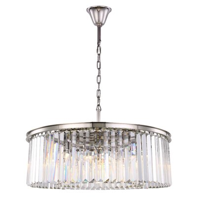 Lavinia 10-Light Drum Pendant Finish: Polished Nickel, Crystal Color: Clear