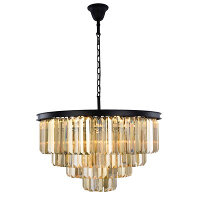 Lavinia 17-Light Crystal Chandelier Finish: Matte Black, Crystal Color: Smoky