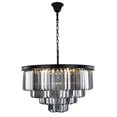 Lavinia 17-Light Crystal Chandelier Finish: Matte Black, Crystal Color: Gray