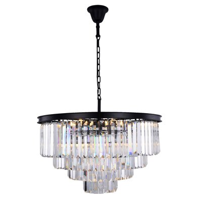 Lavinia 17-Light Crystal Chandelier Finish: Matte Black, Crystal Color: Clear