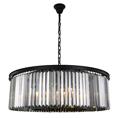 Lavinia 10-Light Drum Pendant Finish: Matte Black, Crystal Color: Gray