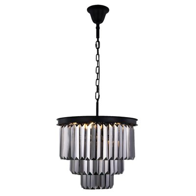 Lavinia 9-Light Crystal Chandelier Finish: Matte Black, Crystal Color: Gray