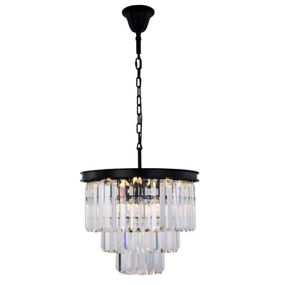 Lavinia 9-Light Crystal Chandelier Finish: Matte Black, Crystal Color: Clear