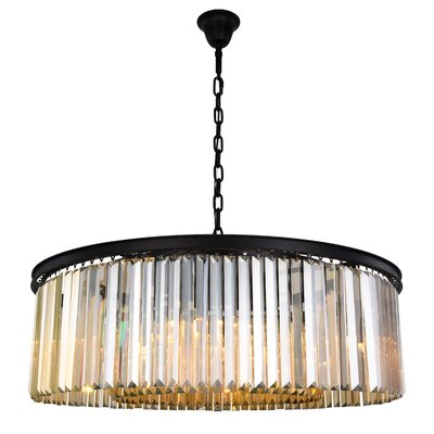 Lavinia 10-Light Drum Pendant Finish: Matte Black, Crystal Color: Smoky