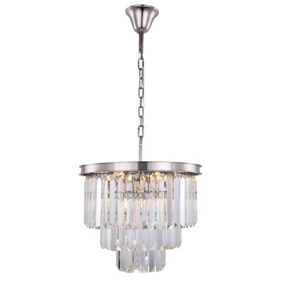 Lavinia 9-Light Crystal Chandelier Finish: Polished Nickel, Crystal Color: Clear