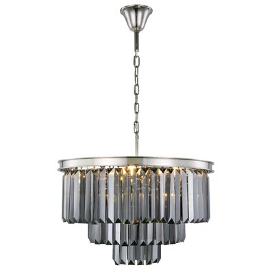 Lavinia 9-Light Crystal Chandelier Finish: Polished Nickel, Crystal Color: Gray