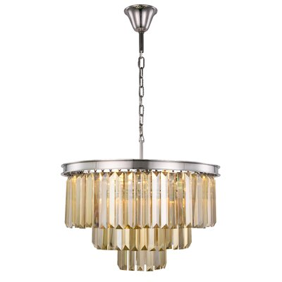 Lavinia 9-Light Crystal Chandelier Finish: Polished Nickel, Crystal Color: Smoky