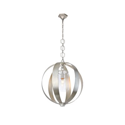 Damiane 1-Light Globe Pendant Finish: Vintage Silver Leaf