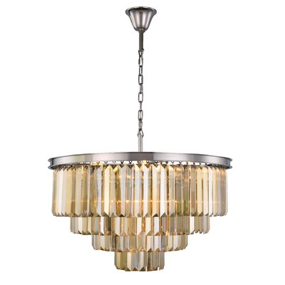 Lavinia 17-Light Crystal Chandelier Finish: Polished Nickel, Crystal Color: Smoky
