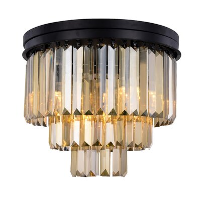 Lavinia 9-Light Flush Mount Fixture Finish: Matte Black, Shade Color: Smoky