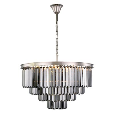 Lavinia 17-Light Crystal Chandelier Finish: Polished Nickel, Crystal Color: Gray