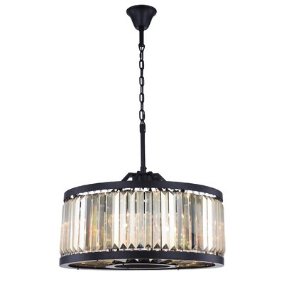Dorinda� 8-Light Drum Pendant Finish: Matte Black, Crystal Color: Smoky