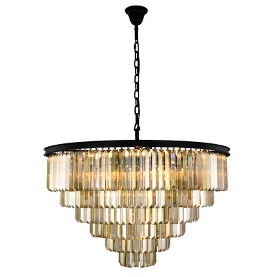 Lavinia 33-Light Crystal Chandelier Finish: Matte Black, Crystal Color: Smoky