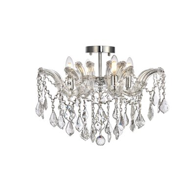 Regina 4-Light Semi Flush Mount Fixture Finish: Chrome, Crystal Type: Royal Cut