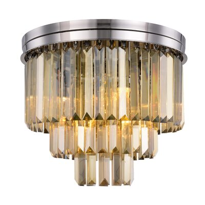 Lavinia 9-Light Flush Mount Fixture Finish: Polished Nickel, Shade Color: Smoky