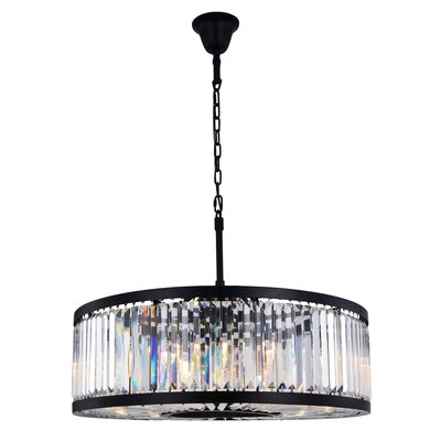 Dorinda�10-Light Drum Pendant Finish: Matte Black, Crystal Color: Clear