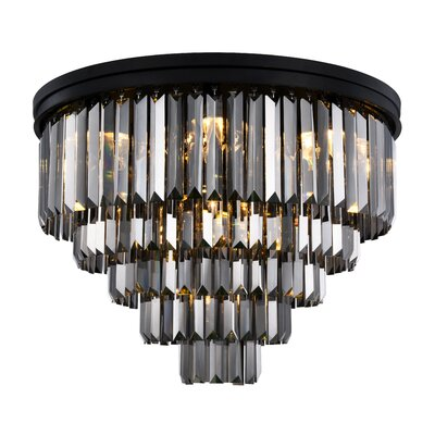 Lavinia 17-Light Flush Mount Fixture Finish: Matte Black, Shade Color: Gray