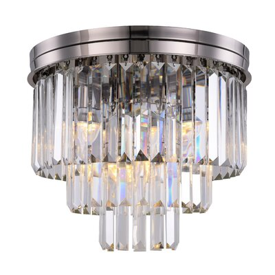 Lavinia 9-Light Flush Mount Fixture Finish: Polished Nickel, Shade Color: Clear