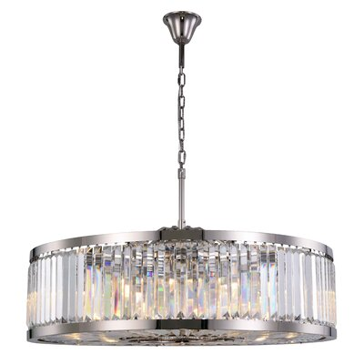 Dorinda�10-Light Drum Pendant Finish: Polished Nickel, Crystal Color: Clear