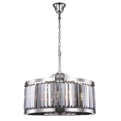 Dorinda� 8-Light Drum Pendant Finish: Polished Nickel, Crystal Color: Gray