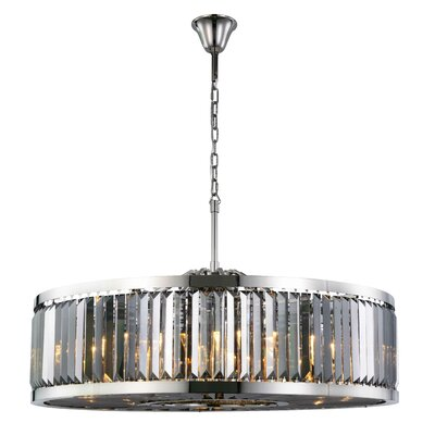 Dorinda�10-Light Drum Pendant Finish: Polished Nickel, Crystal Color: Gray