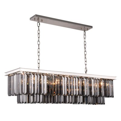 Lavinia 12-Light Kitchen Island Pendant Finish: Polished Nickel, Crystal Color: Gray