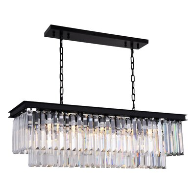 Lavinia 12-Light Kitchen Island Pendant Finish: Matte Black, Crystal Color: Clear