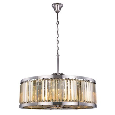 Dorinda�10-Light Drum Pendant Finish: Polished Nickel, Crystal Color: Smoky