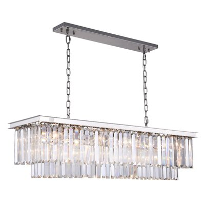 Lavinia 12-Light Kitchen Island Pendant Finish: Polished Nickel, Crystal Color: Clear