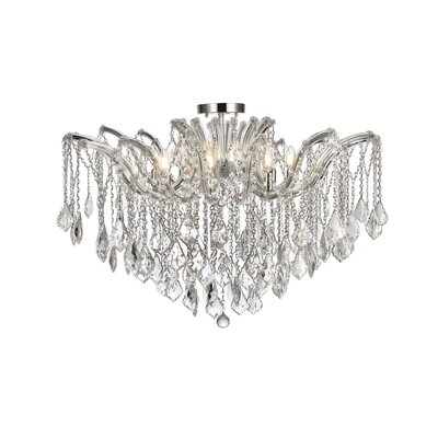 Regina 8-Light Semi Flush Mount Fixture Finish: Chrome, Crystal Type: Elegant Cut