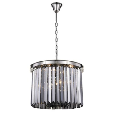 Lavinia 6-Light Drum Pendant Finish: Polished Nickel, Crystal Color: Gray