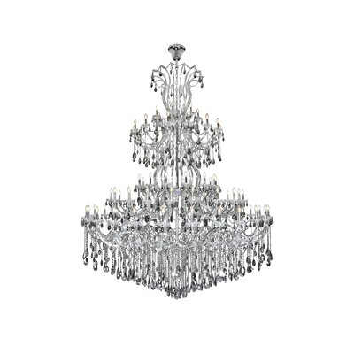 Regina 84-Light Empire Chandelier Finish: Chrome, Crystal Color: Gray, Crystal Type: Royal Cut