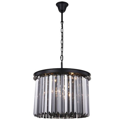 Lavinia 6-Light Drum Pendant Finish: Matte Black, Crystal Color: Gray