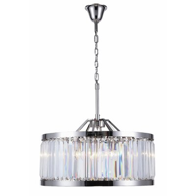 Dorinda� 8-Light Drum Pendant Finish: Polished Nickel, Crystal Color: Clear