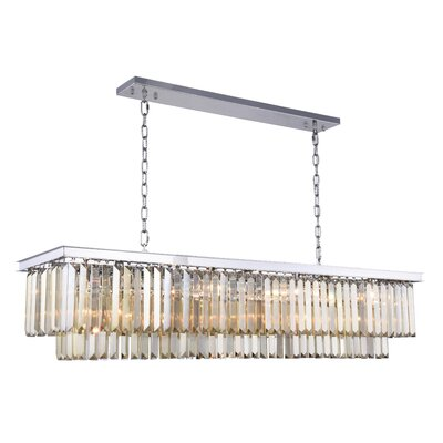 Lavinia 12-Light Kitchen Island Pendant Finish: Polished Nickel, Crystal Color: Smoky