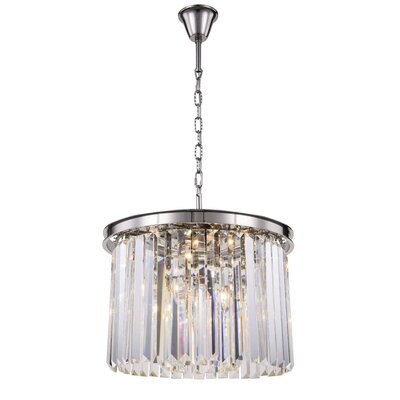 Lavinia 6-Light Drum Pendant Finish: Polished Nickel, Crystal Color: Clear