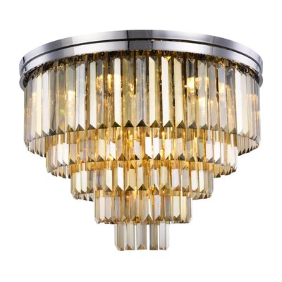 Lavinia 17-Light Flush Mount Fixture Finish: Polished Nickel, Shade Color: Smoky