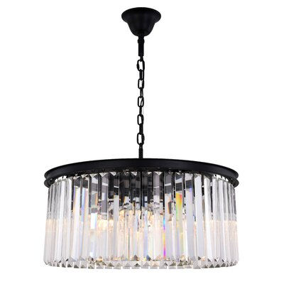 Lavinia 8-Light Drum Pendant Finish: Matte Black, Crystal Color: Clear