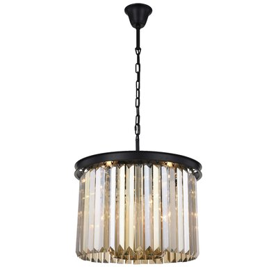 Lavinia 6-Light Drum Pendant Finish: Matte Black, Crystal Color: Smoky