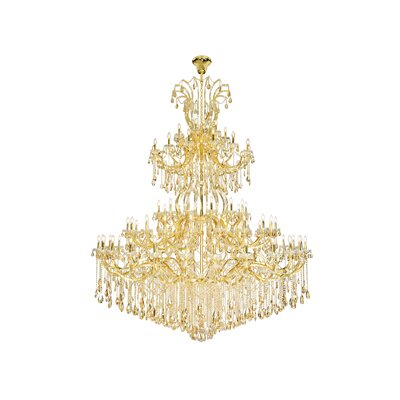 Regina 84-Light Empire Chandelier Finish: Gold, Crystal Color: Champagne, Crystal Type: Royal Cut